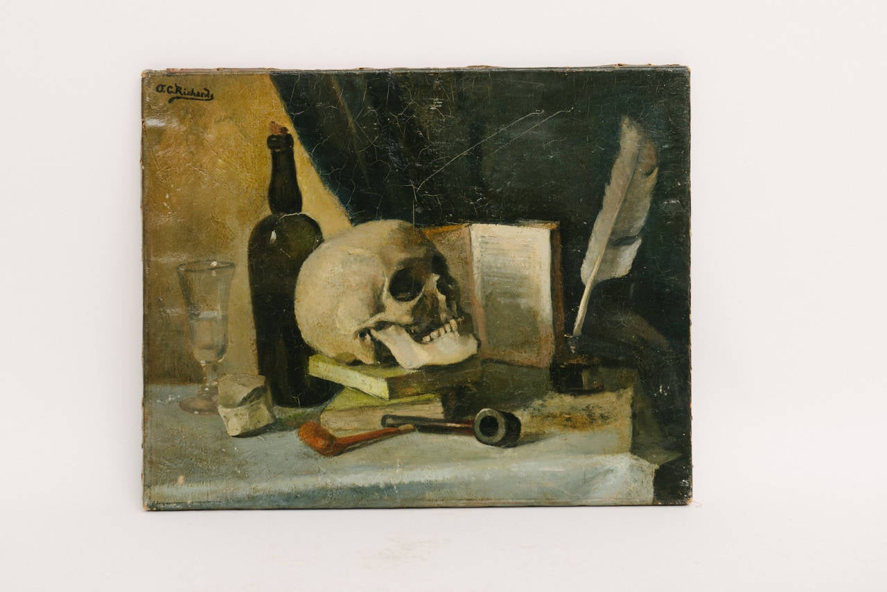 Memento Moro still life oil painting. Remains in stunning original condition. Signed by the artist, Orren C. Richards, in upper left corner.