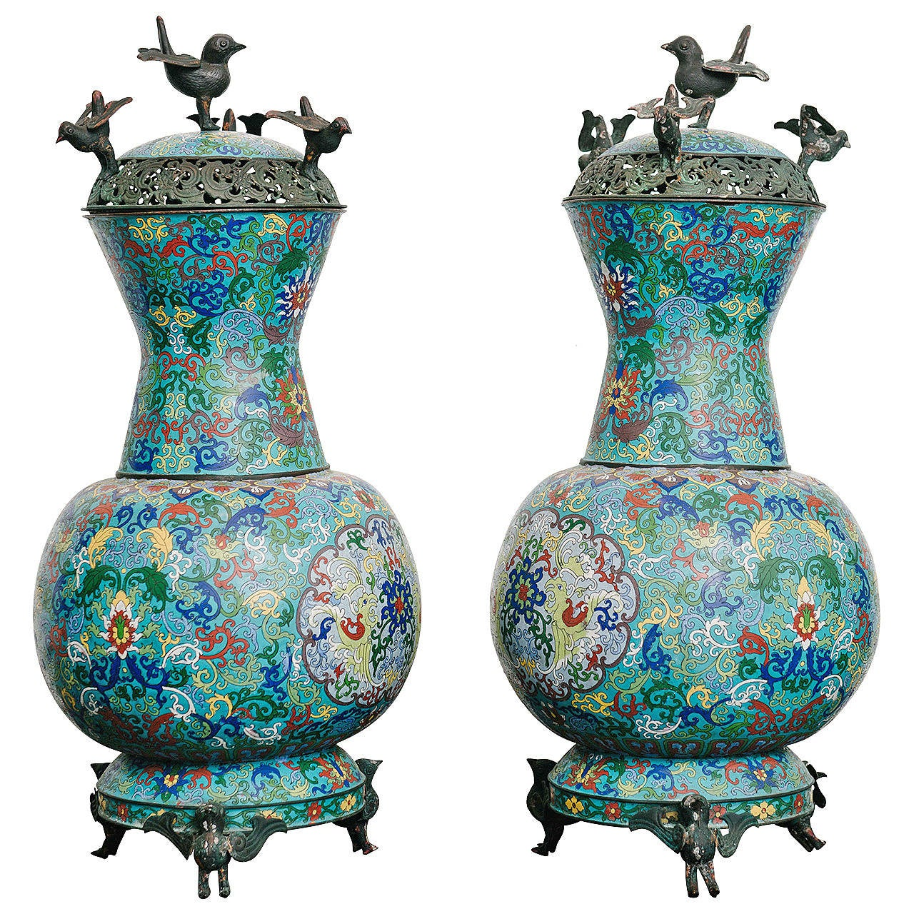 Pair of 19th Century Chinese Bronze Cloisonné Urns