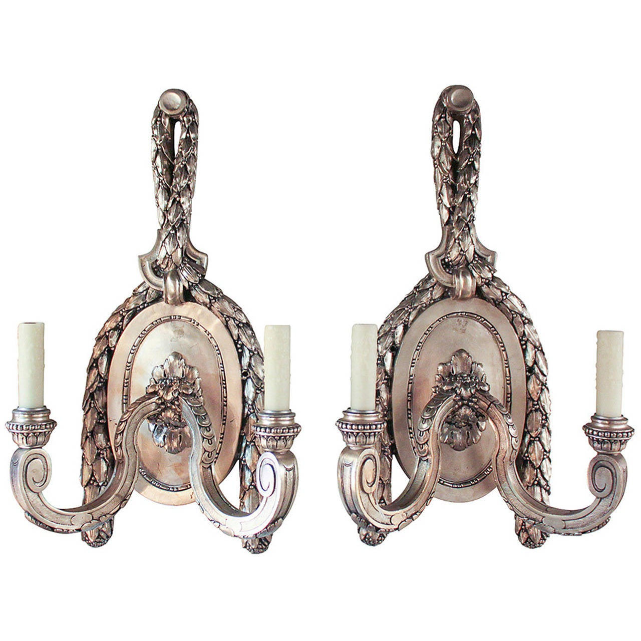 Pair of French Silvered Wall Sconce