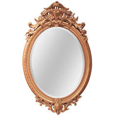 19th c. French Louis XV Oval Giltwood Mirror