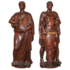 Pair of 19th Century Carved Walnut Figures