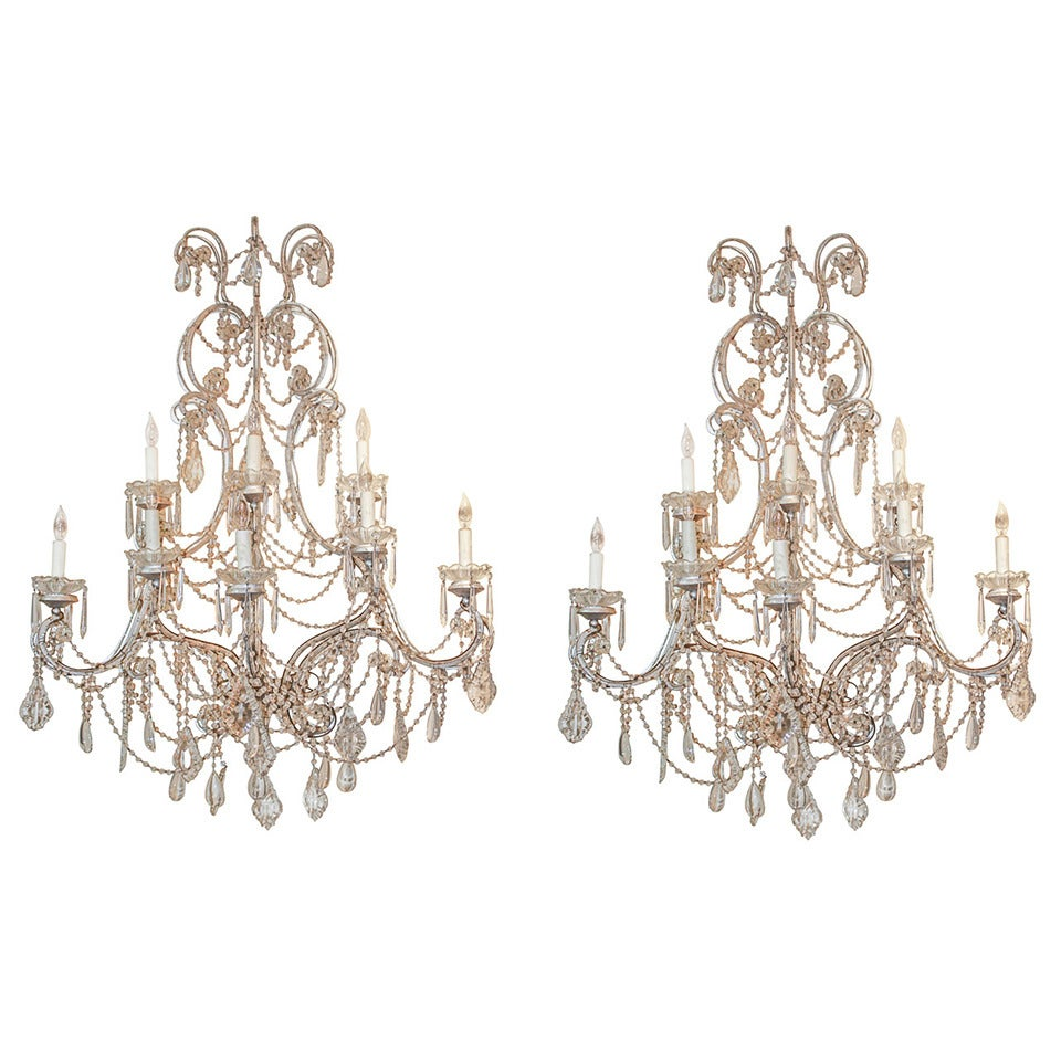 Large Pair of Italian Beaded Sconce