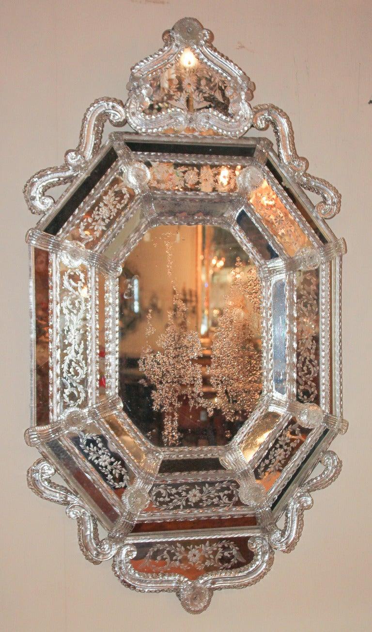 Exquisite Venetian Glass Mirror At 1stdibs