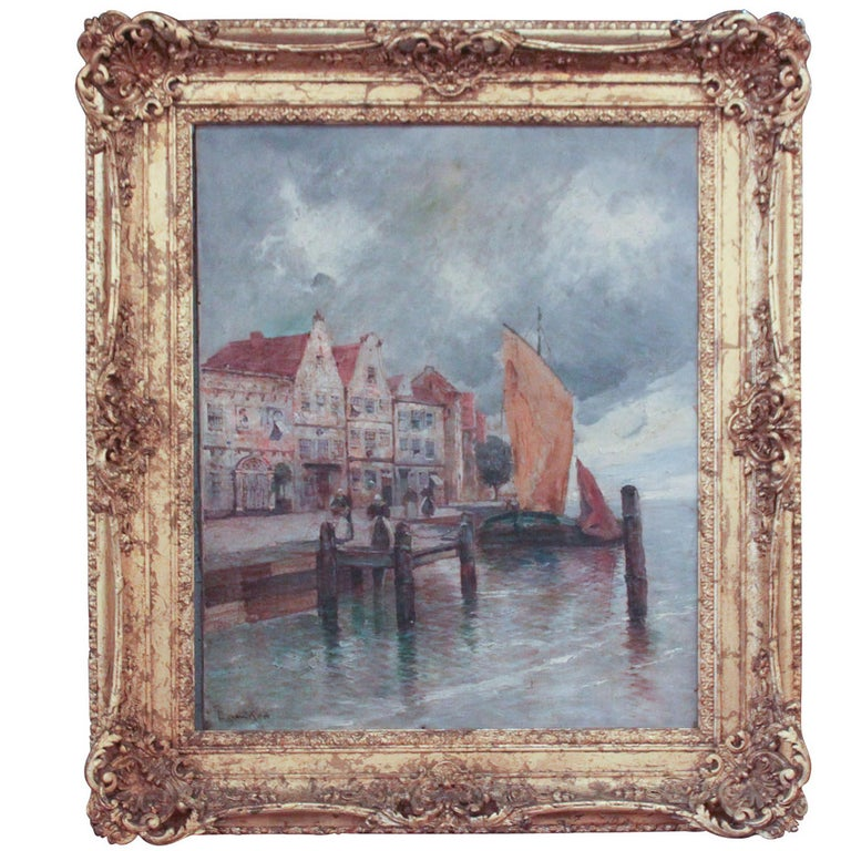 19th Century Continental Oil of Seaside Village For Sale