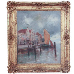 19th c. Continental Oil of Seaside Village