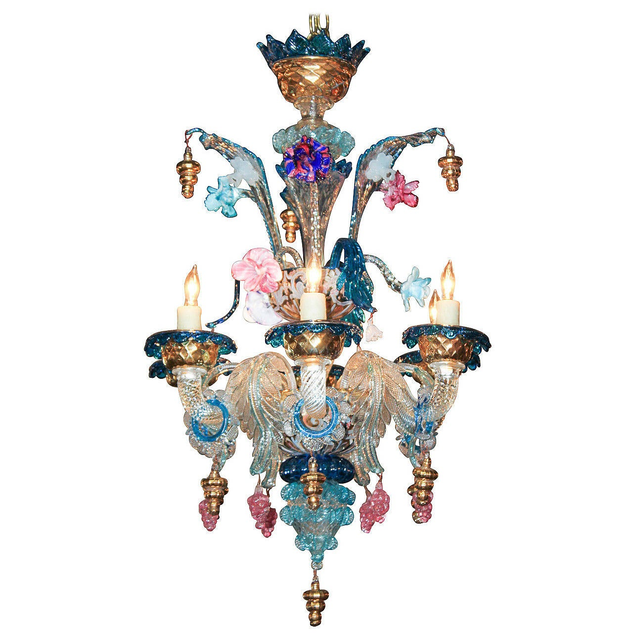 Early 20th C Venetian Glass Chandelier At 1stdibs