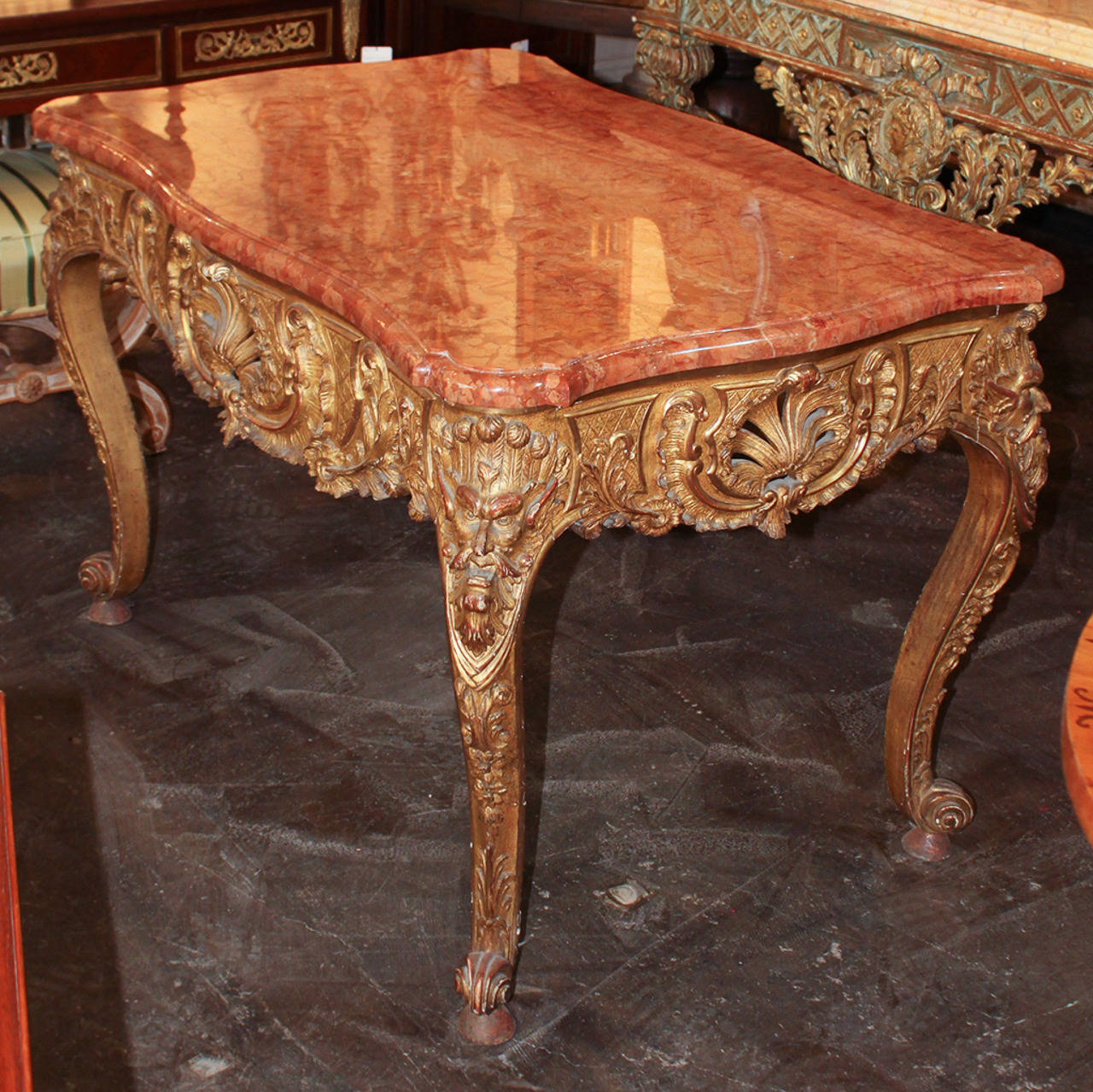 Marble 19th Century Italian Carved Giltwood Centre Table For Sale