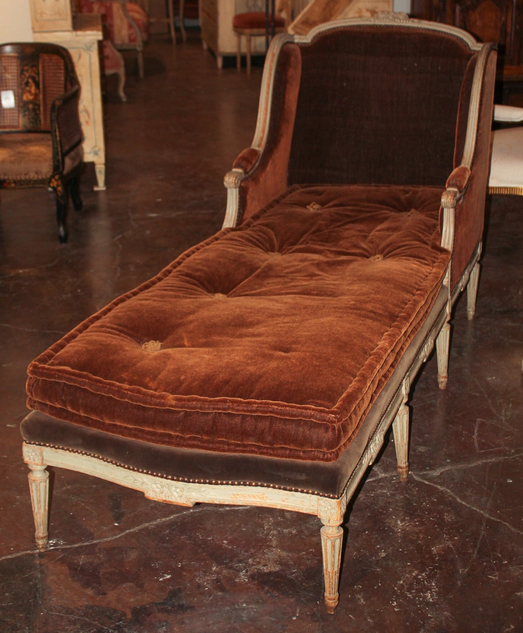 19th c french louis xvi chaise longue for sale at 1stdibs for Chaise longue french