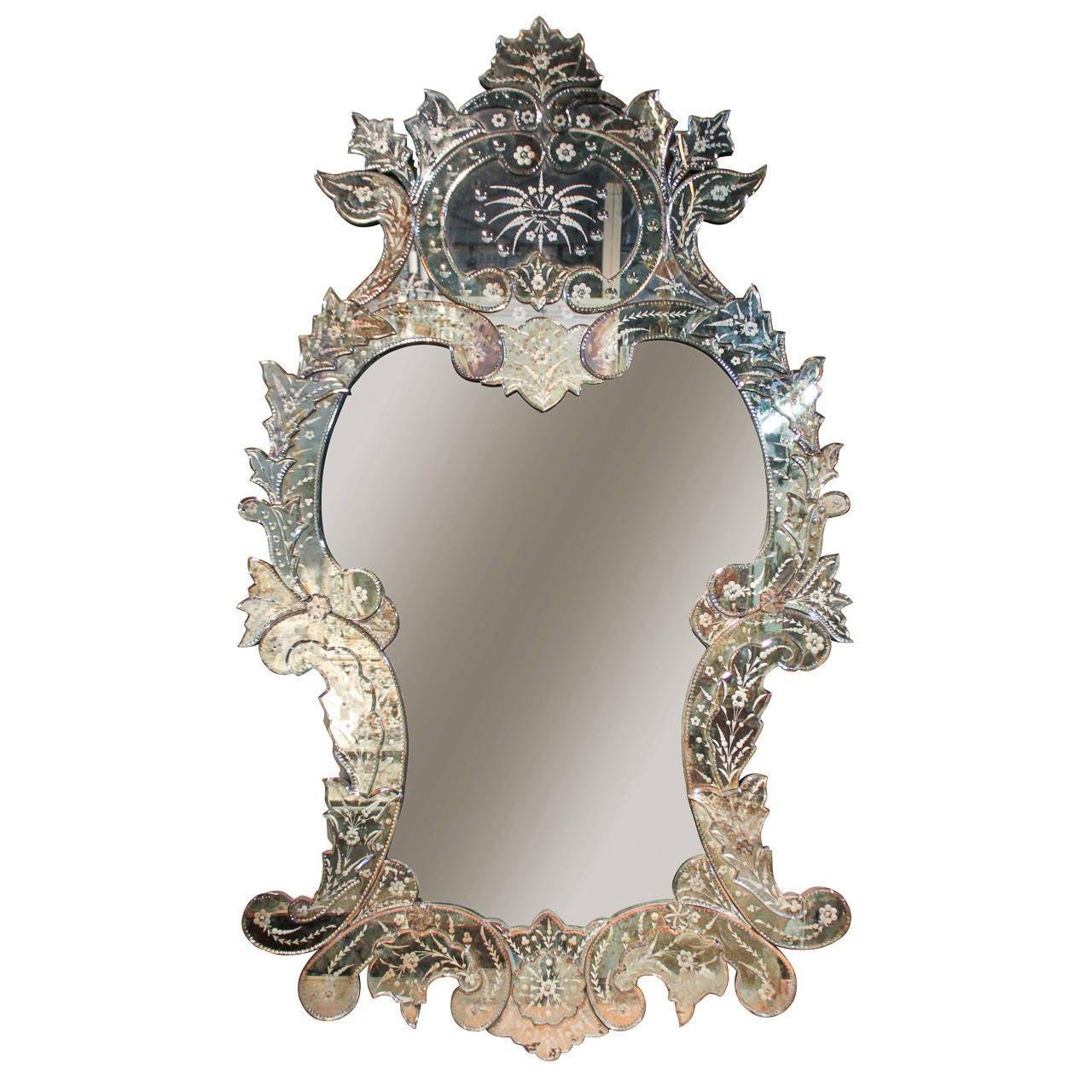 Large venetian mirror at 1stdibs for Black venetian mirror