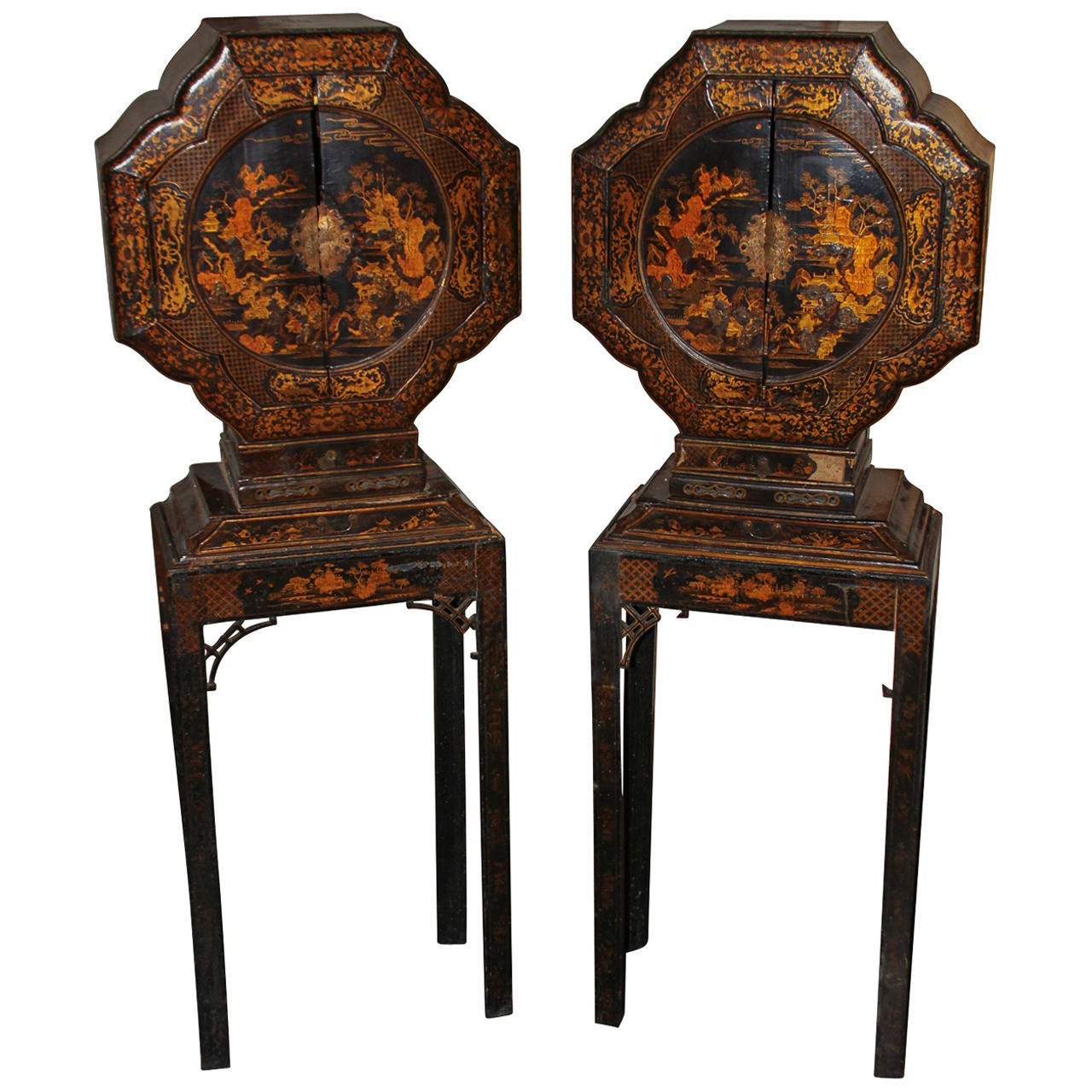 Rare Pair Of English Chinoiserie Lacquered Cabinets At 1stdibs
