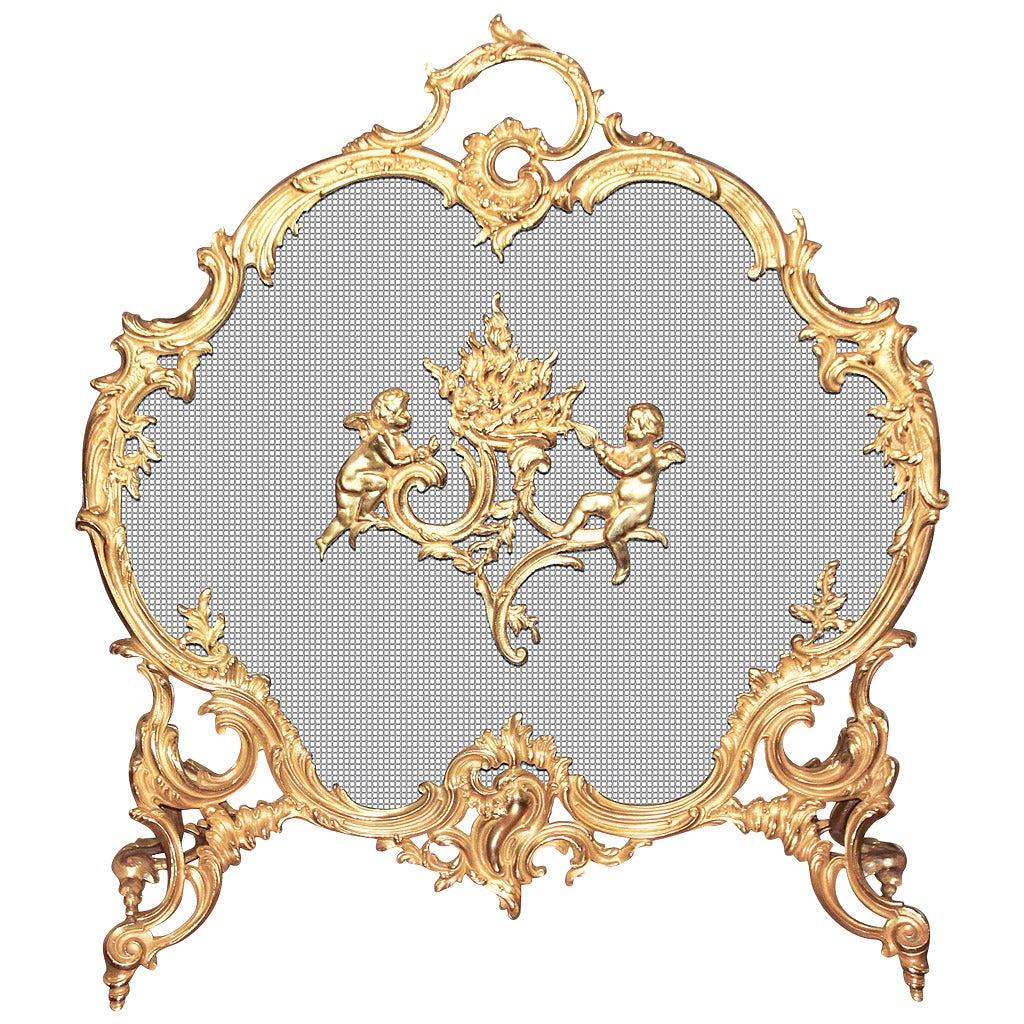19th c. French Louis XV Doré Bronze Fire Screen