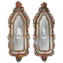 Pair of 19th c. Italian Painted Mirrors