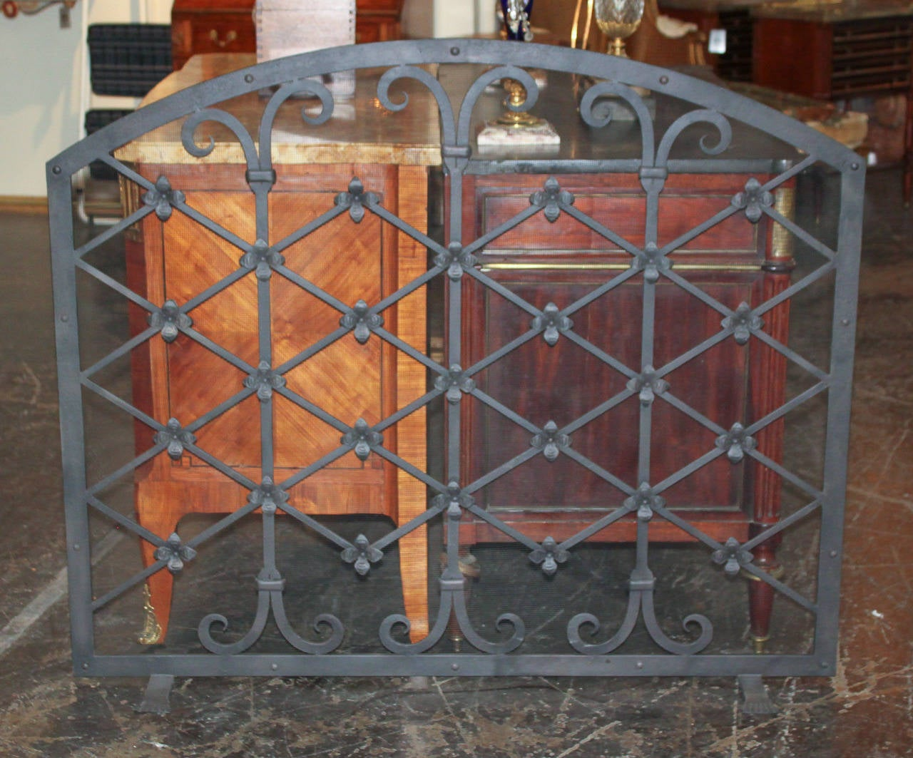 Legacy custom wrought iron fire screen at 1stdibs for Custom wrought iron fireplace screens