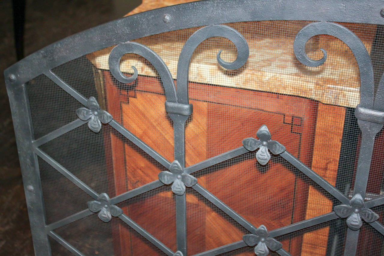 Legacy custom wrought iron fire screen for sale at 1stdibs for Custom wrought iron fireplace screens