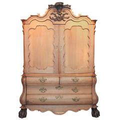 19th Century Dutch Carved Oak Linen Press