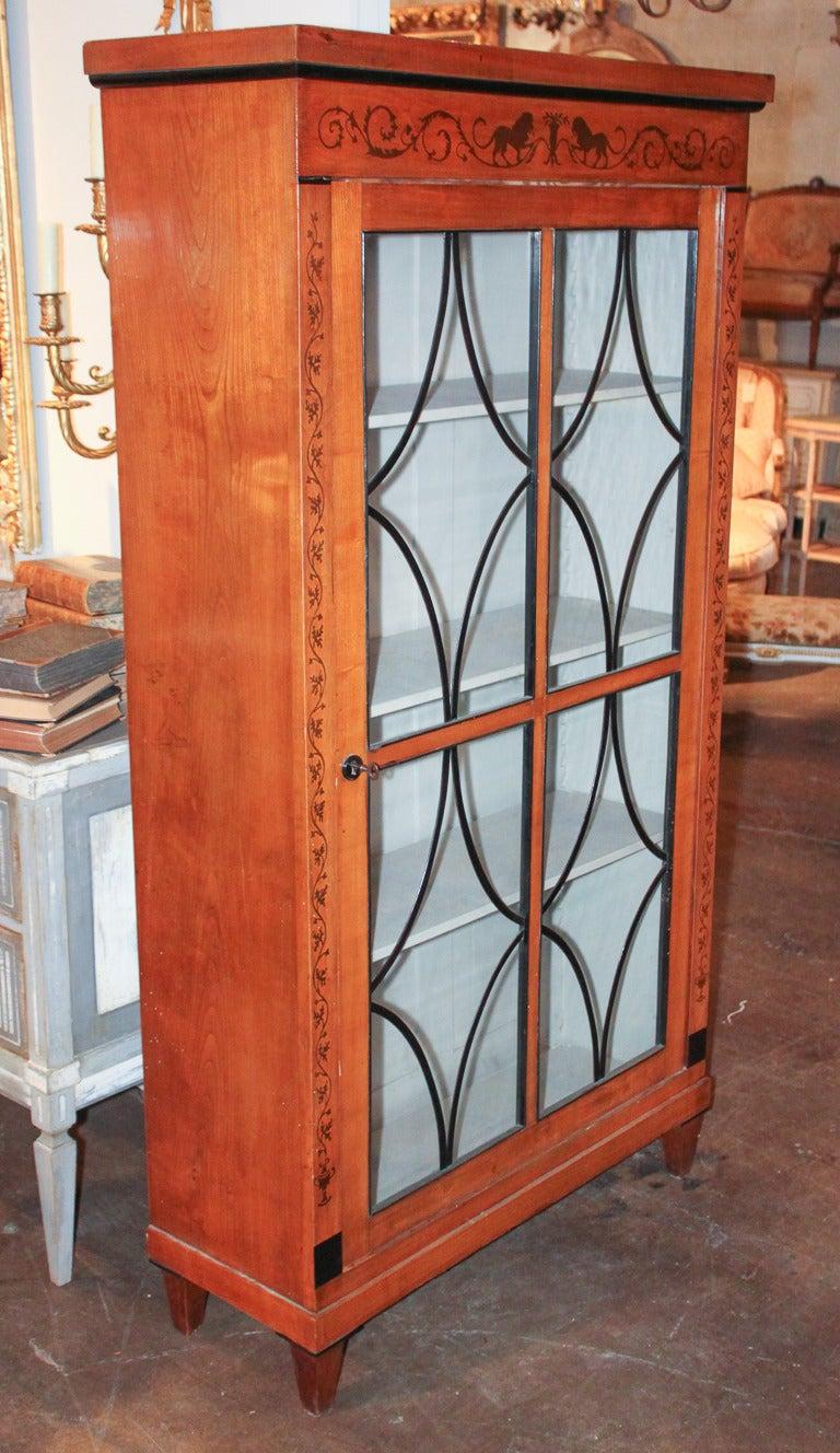 Fruitwood 19th Century Biedermeier Bookcase For Sale