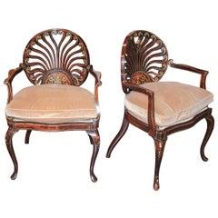 19th Century Pair of Italian Inlaid Armchairs