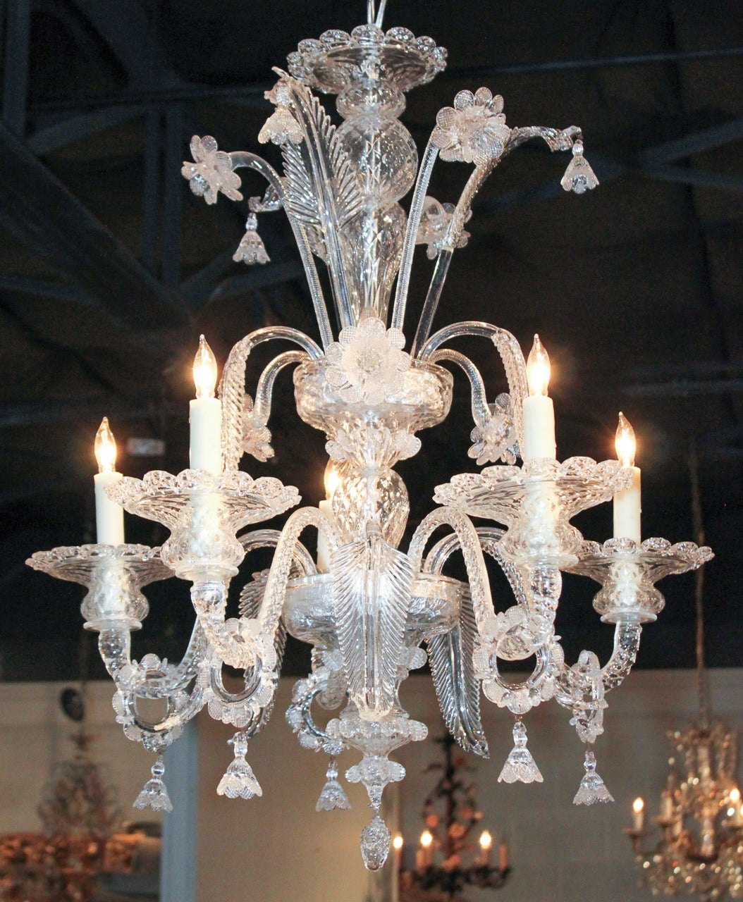 Superb Venetian Clear Glass Chandelier At 1stdibs
