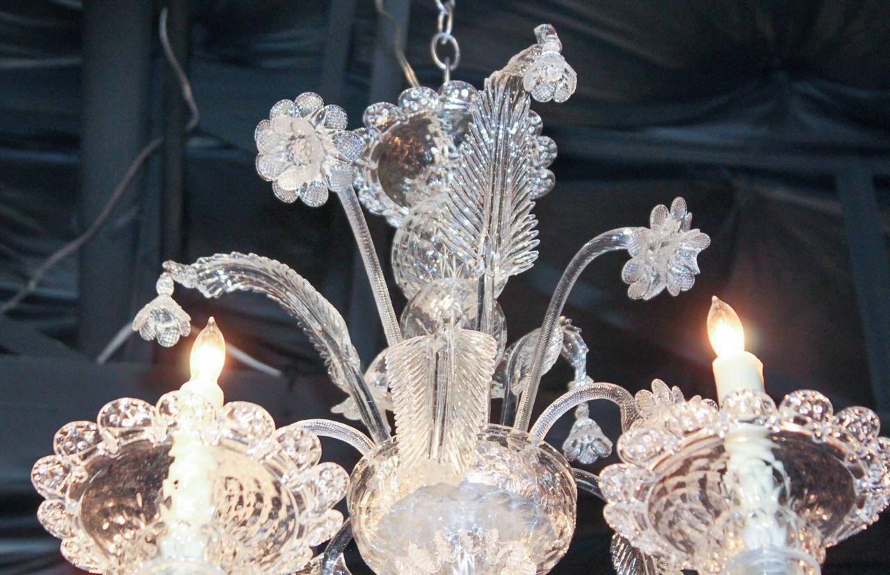 Superb Venetian Clear Glass Chandelier At 1stdibs