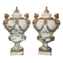 19th Century Pair of French Louis XV Marble Urns