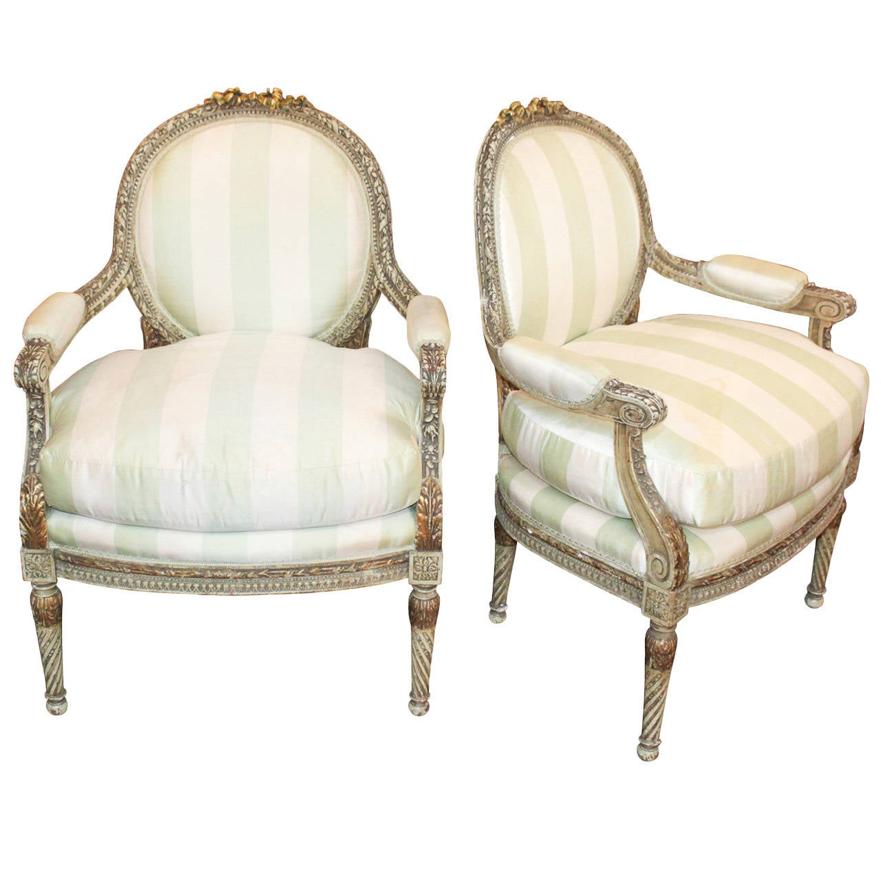 19th century pair of french louis xvi fauteuils at 1stdibs. Black Bedroom Furniture Sets. Home Design Ideas