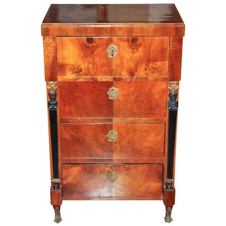 19th Century German Biedermeier Tall Chest For Sale