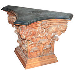 19th Century Italian, Carved Pine Neoclassical Console