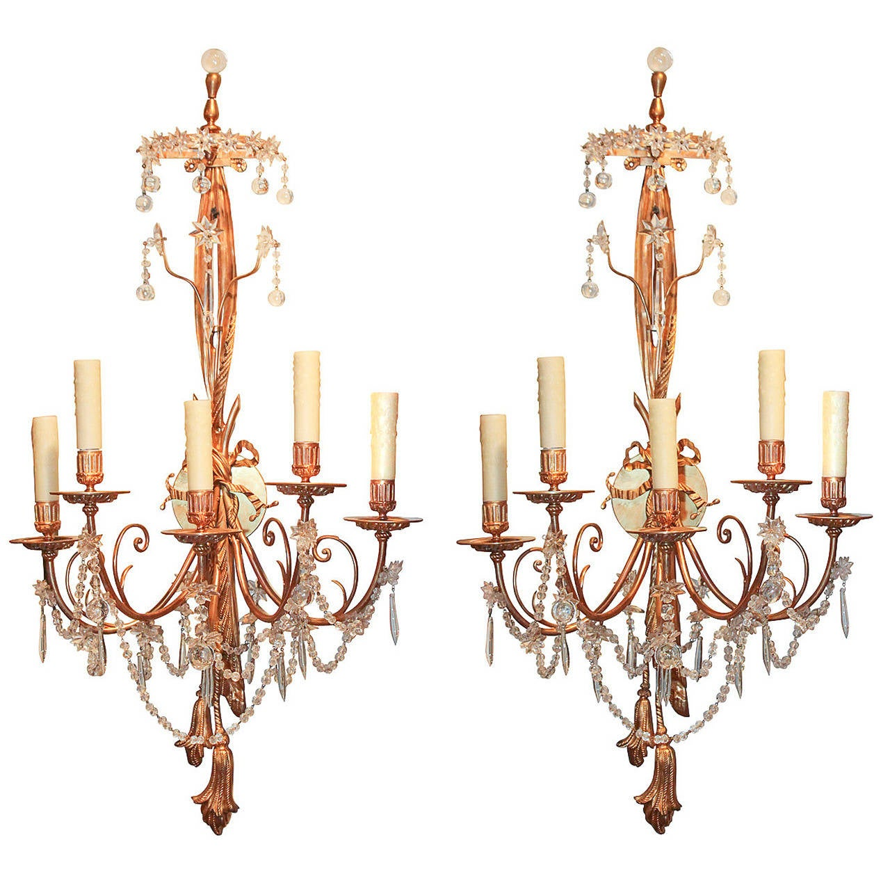 Fine 19th Century Pair of French Crystal Wall Sconces For Sale at 1stdibs