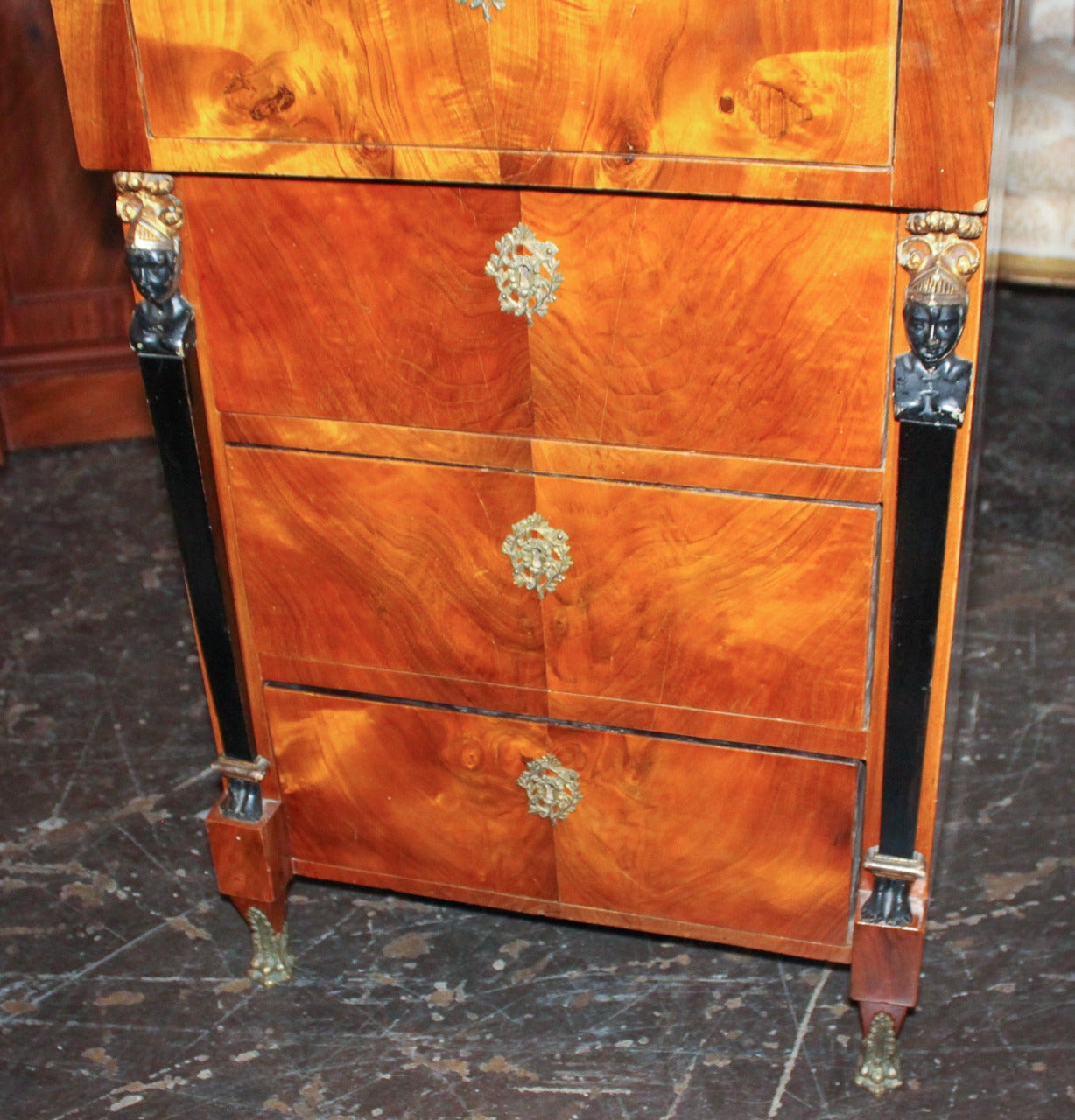 Ebonized 19th Century German Biedermeier Tall Chest For Sale