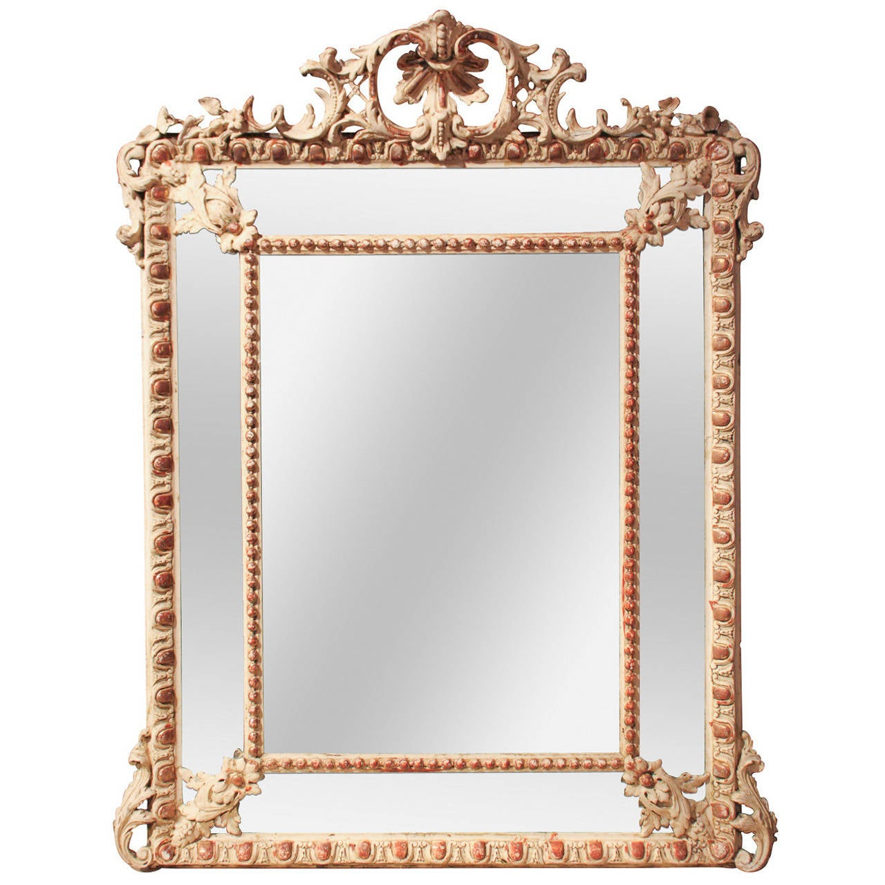 19th Century French Gesso Cushion Mirror