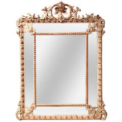 19th Century French Gesso Cushion Mirror
