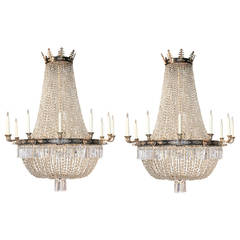 Large Pair of French Empire Crystal and Bronze Chandelier