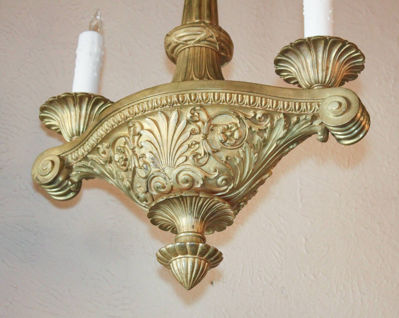 19th Century French Heavy Bronze Chandelier For Sale At
