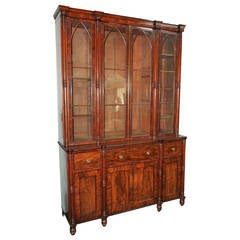 Outstanding English Sheraton Period Secretaire Bookcase, Signed