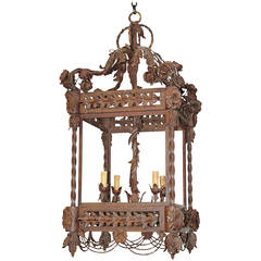 Fine Quality French Heavy Wrought Iron Lantern