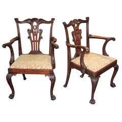Great Pair of English Chippendale Armchairs