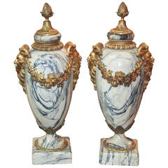 Superb Pair of French Marble Cassolettes