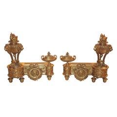 Fine Pair of French Louis XVI Chenet