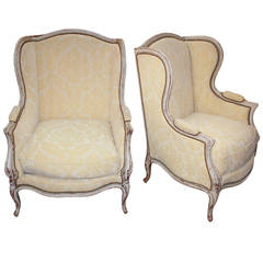 Fine 19th Pair of French Lacquered Bergeres