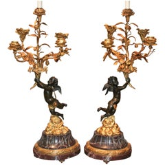 Fine Pair of 19th Century French Bronze Cherub Lamps