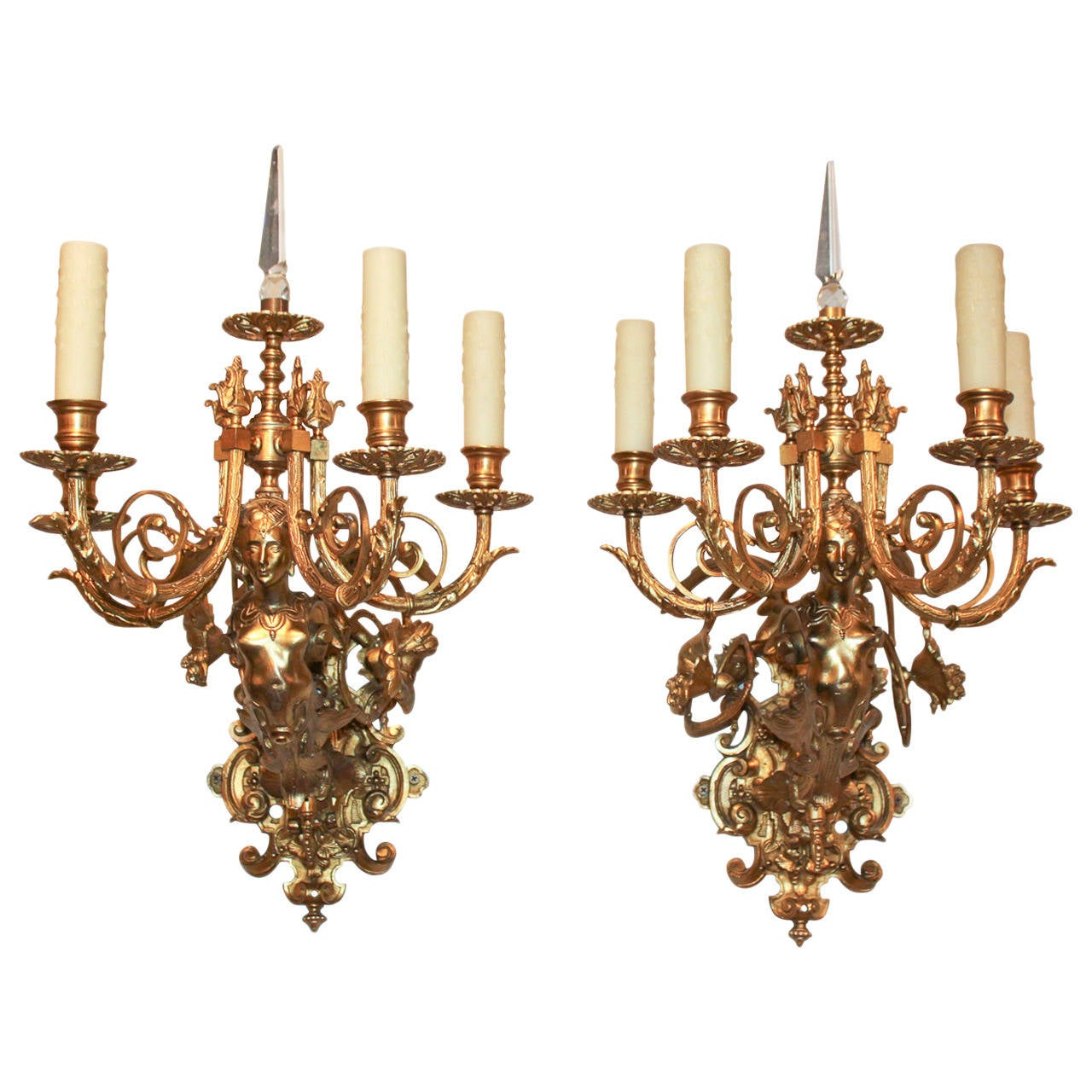 19th Century Pair Of French Bronze Sconces For Sale At 1stdibs