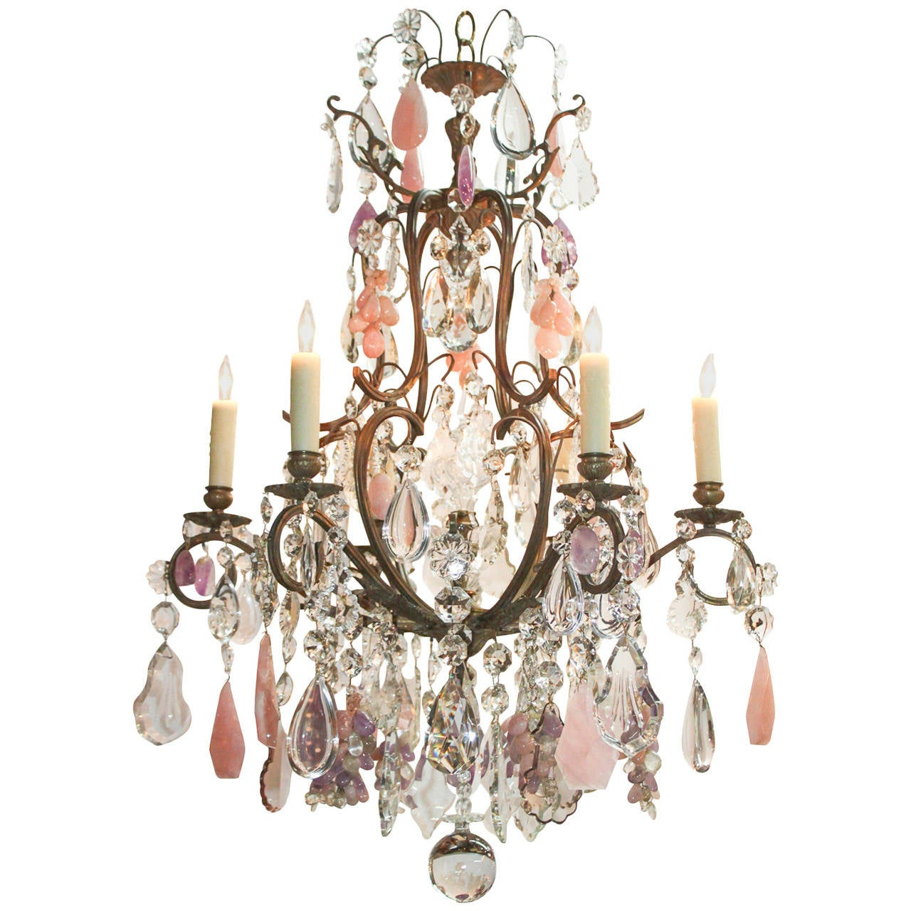 19th Century French Bronze and Rock Crystal Chandelier For Sale at 1stdibs - 19th Century French Bronze And Rock Crystal Chandelier For Sale At
