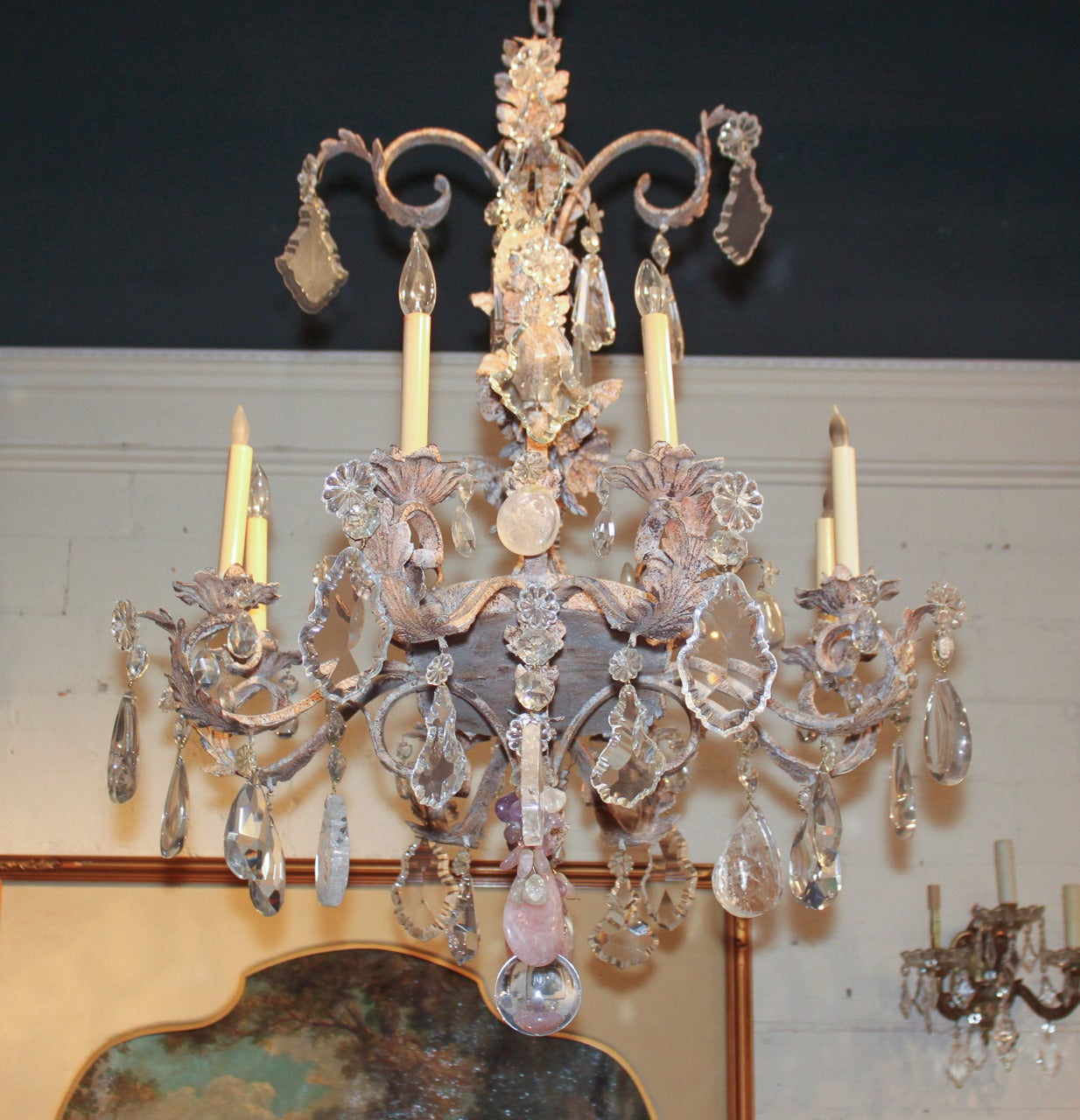 Heavy French Iron And Rock Crystal Chandelier At 1stdibs