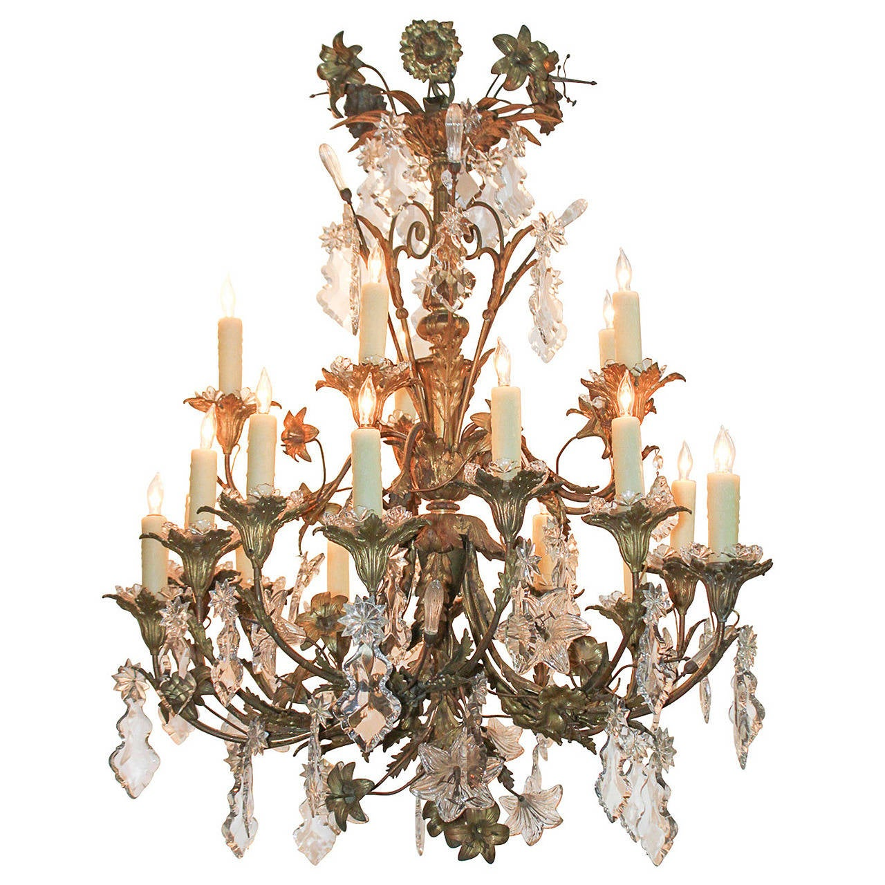 19th Century French Bronze And Crystal Flower Chandelier