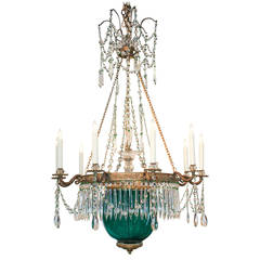 19th Century Russian Gilt Bronze and Colored Glass Chandelier