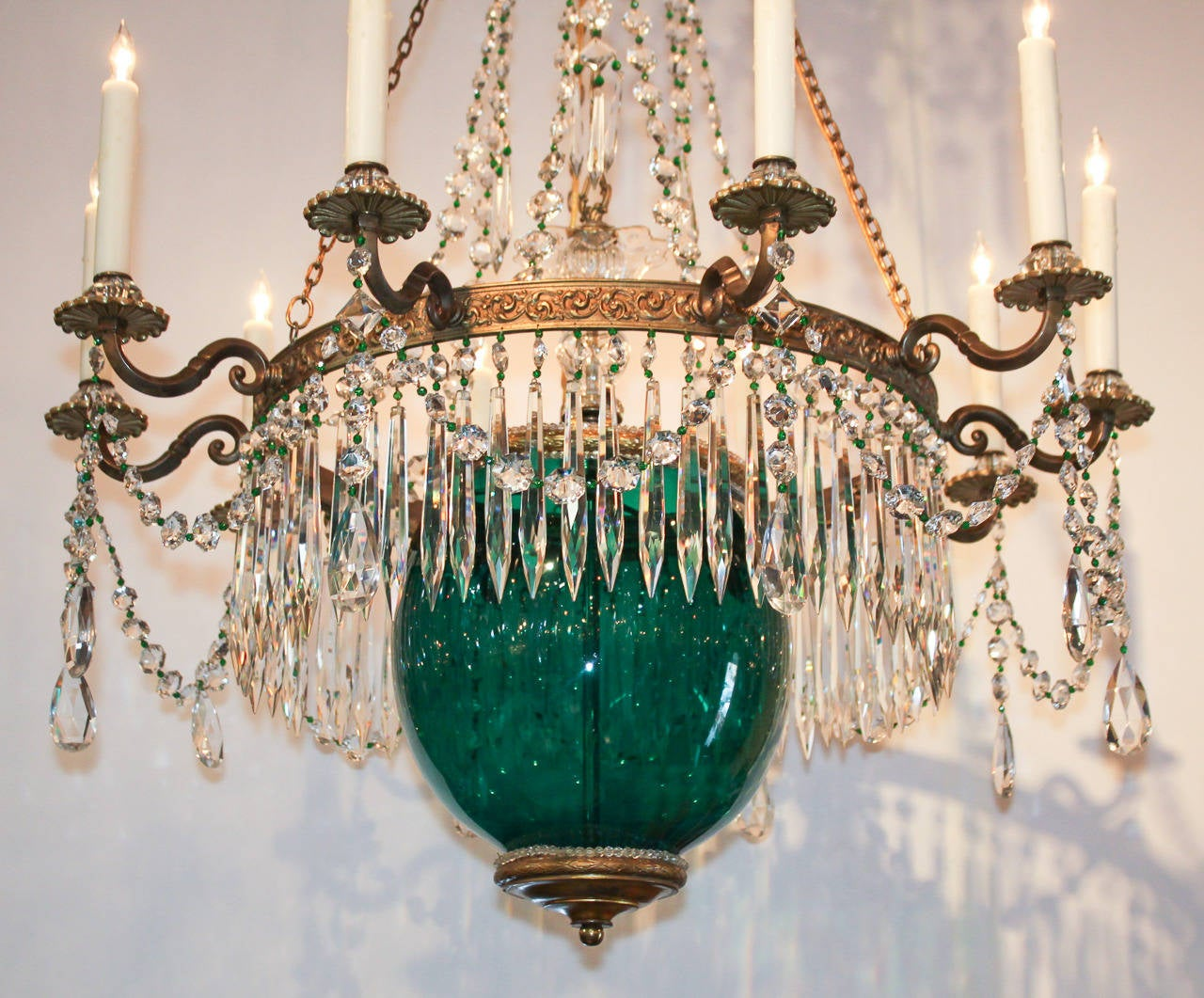 19th Century Russian Gilt Bronze and Colored Glass Chandelier For ...