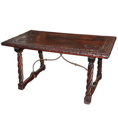 19th Century Italian Carved Trestle Table