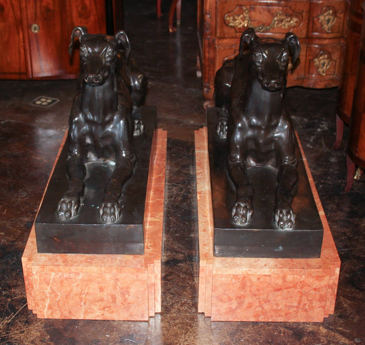 Pair of Bronze Whippets on Marble Bases In Good Condition For Sale In Dallas, TX