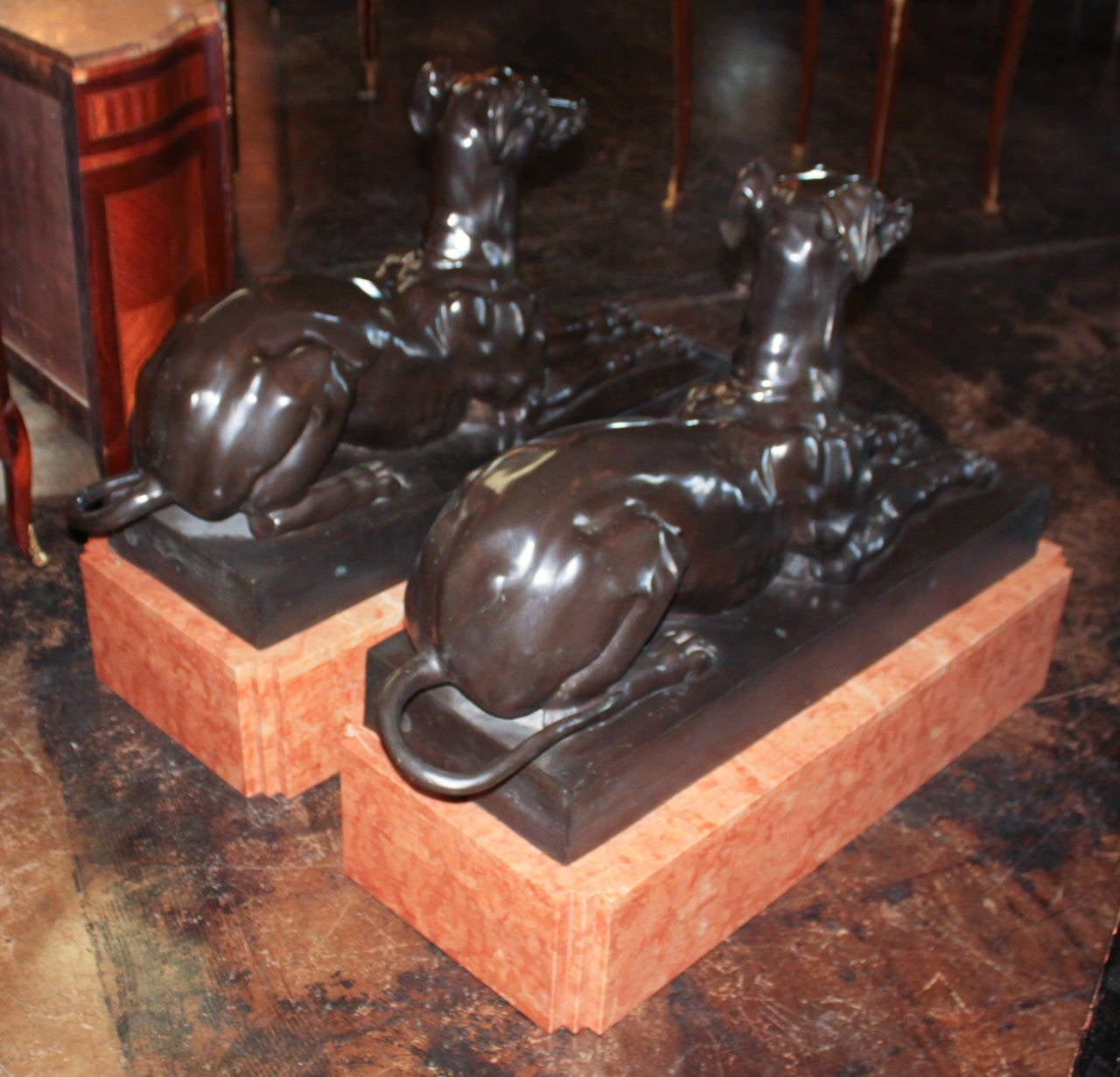 Pair of Bronze Whippets on Marble Bases For Sale 2