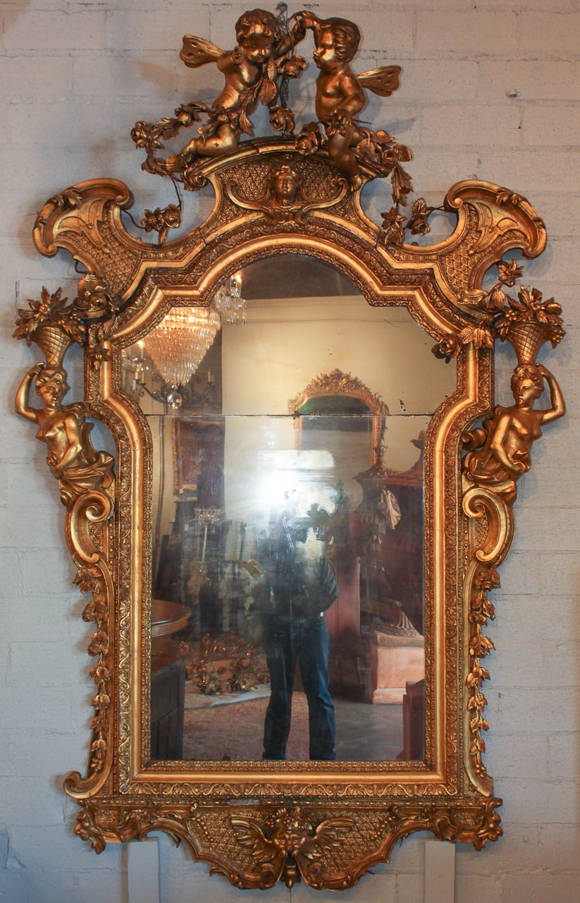 Rare 19th c french rococo giltwood cherub mirror for sale for French rococo period